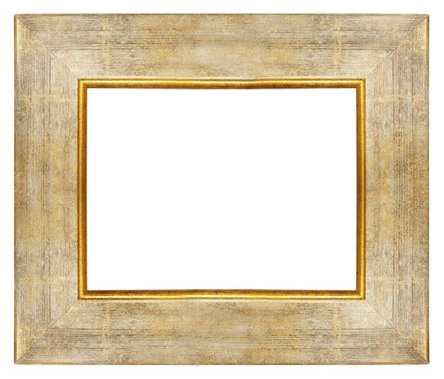 Vintage houten leeg frame met gouden randen geïsoleerd op wit