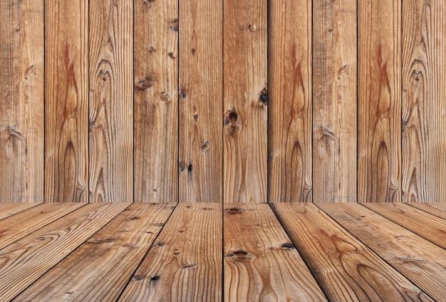 Vintage houten muren en houten vloeren van lege en hebben kopie ruimte.