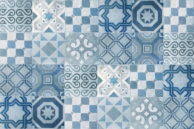 Vintage keramische tegels muur decoratie. turquoise tegels muur achtergrond
