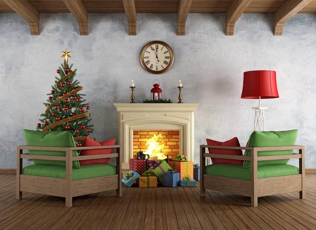 Vintage kerst woonkamer