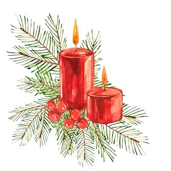 Vintage kerstillustraties. kerst kaars, boom en decoraties. aquarel designlooking op planken