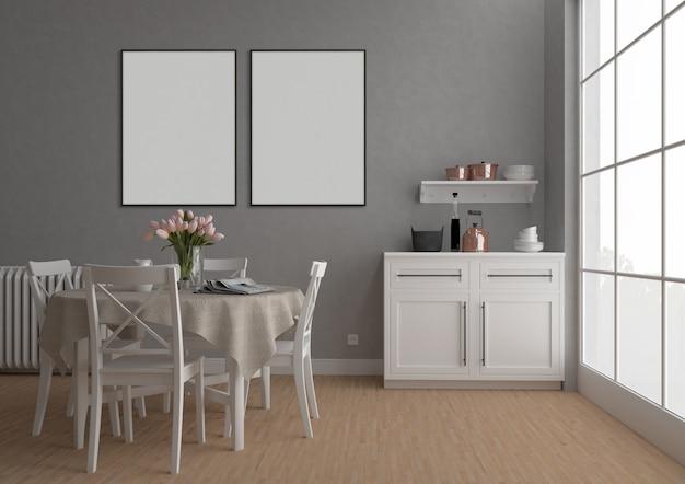 Vintage keuken met dubbele frames, kunstwerk achtergrond, interieur mockup
