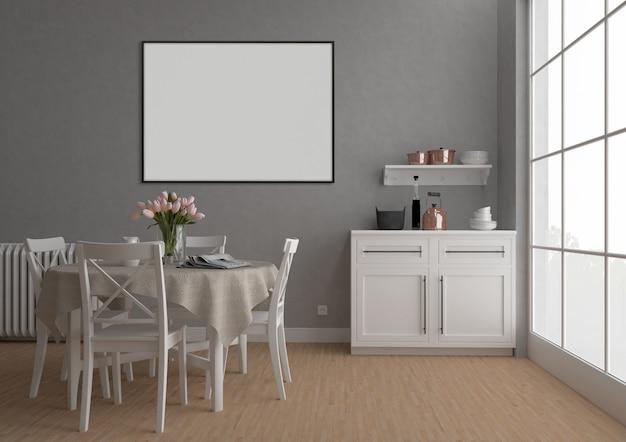 Vintage keuken met horizontaal frame, kunstwerk achtergrond, interieur mockup