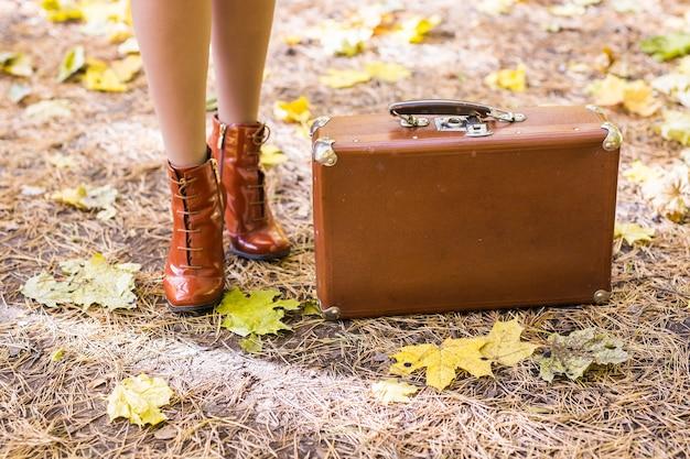 Vintage koffer staande op gevallen herfstbladeren