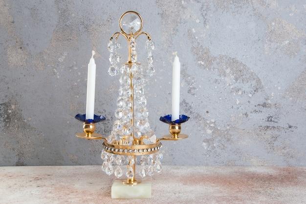 Vintage kristallen metalen kandelaar voor twee kaarsen