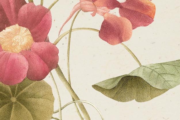 Vintage lentebloem achtergrondillustratie, geremixt van kunstwerken uit het publieke domein