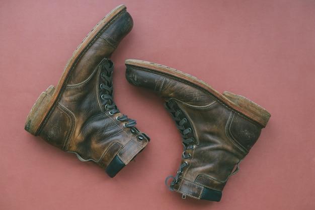 Vintage mannelijke lederen gevechtslaarzen