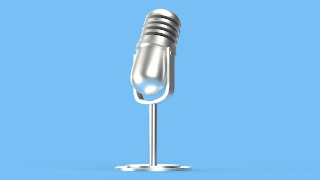 Vintage microfoon 3d-rendering voor podcastinhoud.