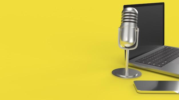 Vintage microfoon notebook en smartphone 3d-rendering voor podcast-inhoud.