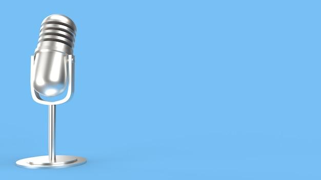 Vintage microfoon op blauwe kamer 3d-rendering voor podcast-inhoud.