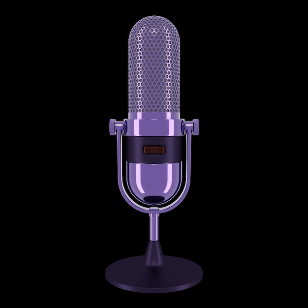 Vintage microfoon van paarse kleur geïsoleerd op zwarte achtergrond. 3d-weergave.