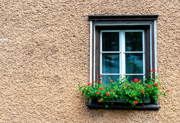 Vintage raam op de muur