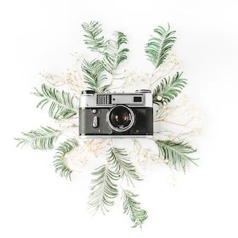 Vintage retro fotocamera, gele acacia en groene brunches
