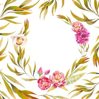 Vintage ronde frame met vertakking van de beslissingsstructuur, pioenroos, rozen