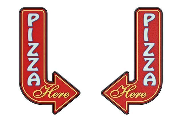 Vintage rusty metal pizza hier pijl teken op een witte achtergrond. 3d-rendering
