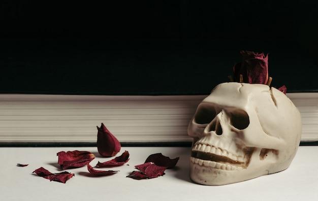 Vintage schedel asbak op een witte achtergrond met rode gedroogde rozen. ontwerp. boek.
