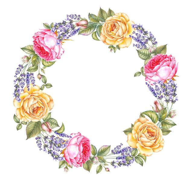 Vintage slinger van bloeiende rozen en lavendel, krans afgerond bloemen frame