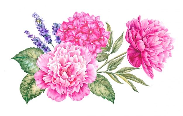 Vintage slinger van bloeiende rozen.