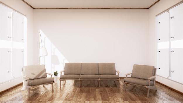 Vintage sofa houten japan ontwerp, op kamer interieur houten vloer