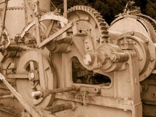 Vintage stoom-aangedreven hout collector