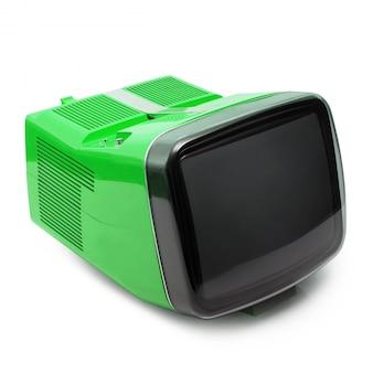 Vintage televisie op witte achtergrond