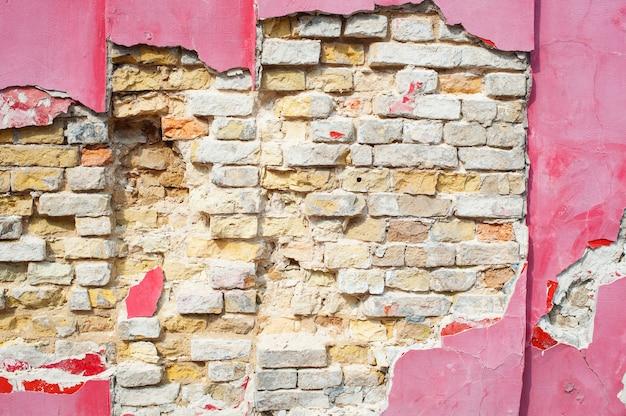 Vintage toon gebarsten oude bakstenen muur voor achtergrond