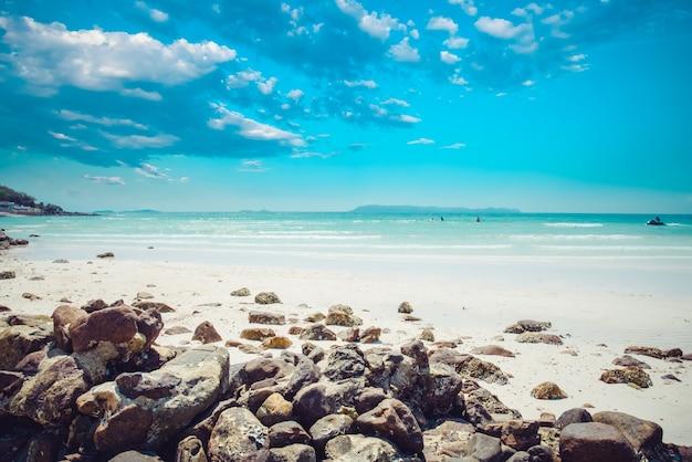 Vintage tropische kust (zeegezicht) in de zomer. landschap van de zee. vintage effect kleur toon.