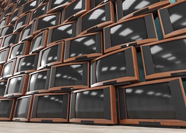 Vintage tv-ontvangers, muur van retro tv's, 3d illustratie