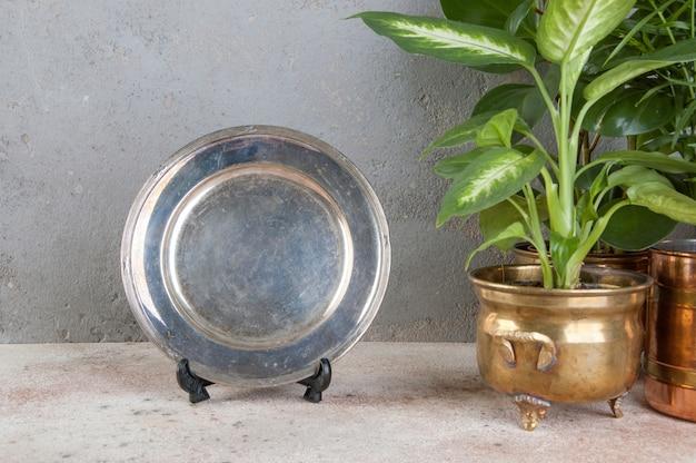 Vintage verzilverde schaal en groene planten
