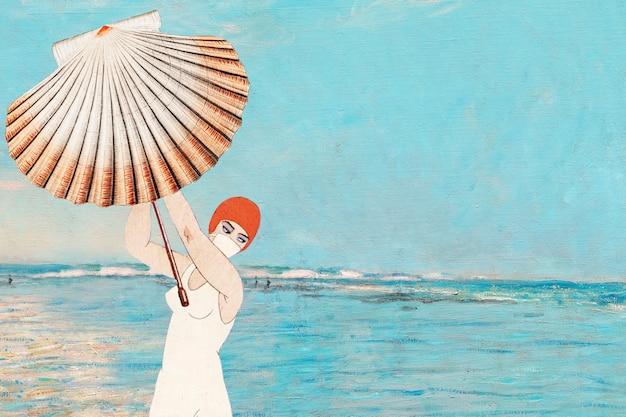 Vintage vrouw met clam shell-achtergrond, geremixt van kunstwerken uit het publieke domein