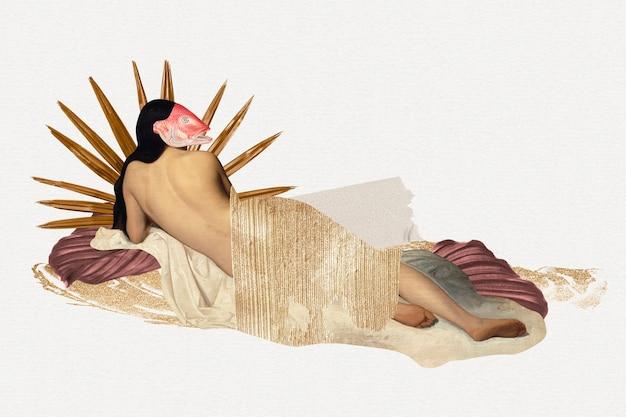 Vintage vrouwelijk collage-element, afdrukbare collage mixed media kunst