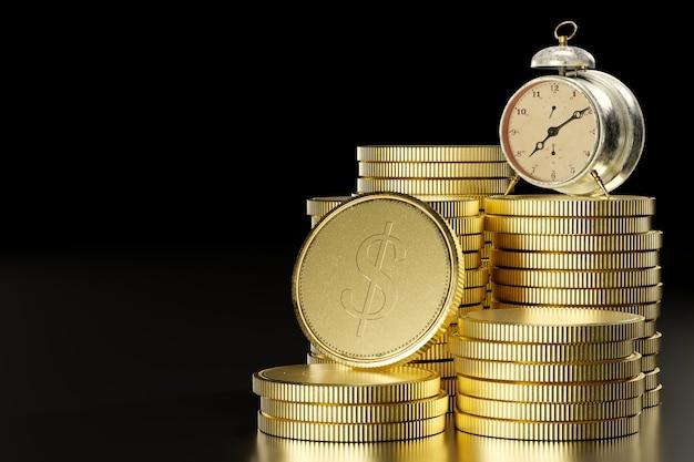Vintage wekker tafelklok op een stapel munten in donkere zwarte achtergrond het concept van het belang van tijd en zaken of het idee dat tijd waardevol is, mag niet tevergeefs voorbijgaan. 3d illustratie.