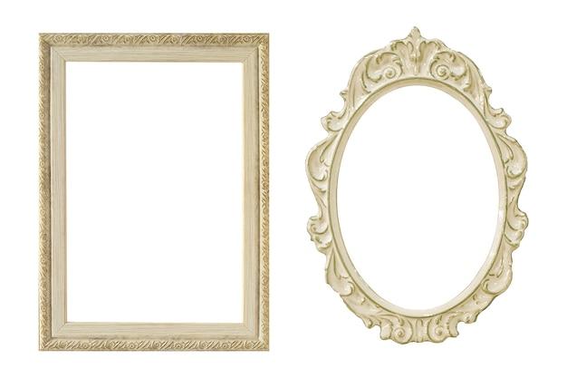 Vintage wit frame geïsoleerd op een witte achtergrond