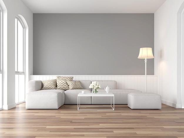 Vintage woonkamer 3d render houten vloer grijze muur ingericht met witte stoffen bank