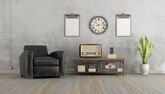 Vintage woonkamer met zwarte fauteuil en oude radio op salontafel. 3d-weergave