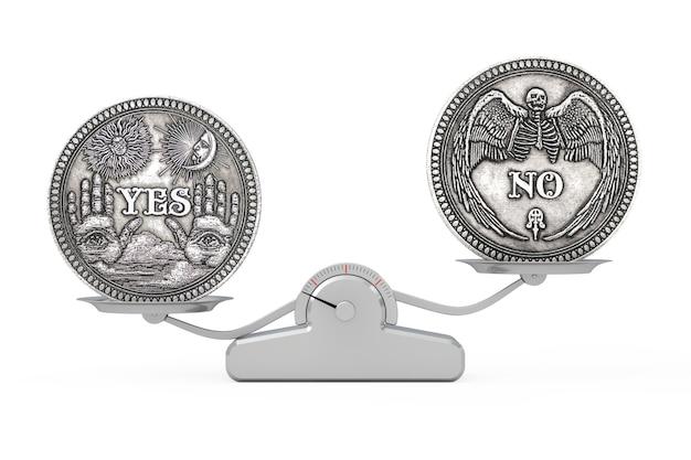 Vintage zilveren flipping munt met ja en nee woord voor maak de juiste keuze, kans, fortuin of beslissing in het leven balancerend op een eenvoudige weegschaal op een witte achtergrond. 3d-rendering