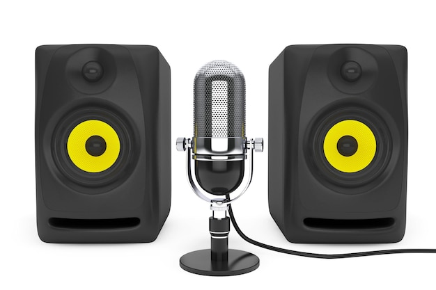 Vintage zilveren microfoon en audio speakers een witte achtergrond. 3d-rendering