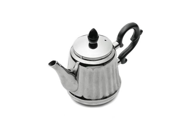 Vintage zilveren theepot op een afgelegen wit