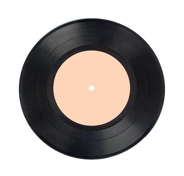 Vinyldieschijf op wit wordt geïsoleerd