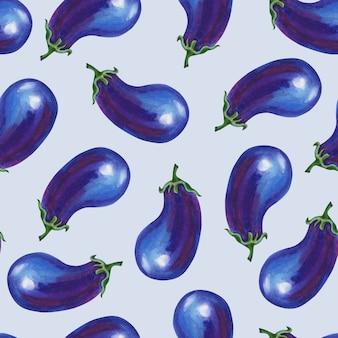 Violet aubergine op lichtgrijze achtergrond achtergrond. naadloos patroon. zomer, herfst illustratie van blauwe groenten. botanische kunst om af te drukken, boekomslagen, textiel, stof, inpakpapier.