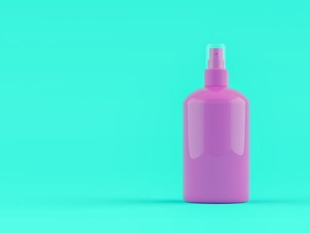 Violet lotion fles met kopie ruimte voor uw tekst