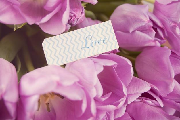 Violet tulpen en notitie met woord liefde.