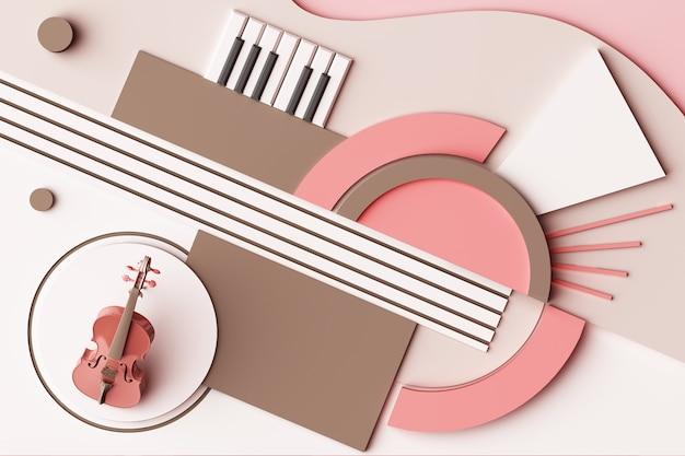 Viool en muziekinstrument concept abstracte compositie van geometrische vormen platforms in pastel roze toon 3d-rendering