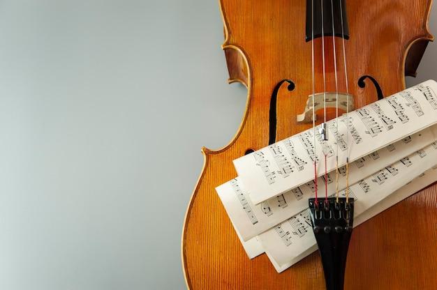 Viool met bladen met muzieknoten close-up