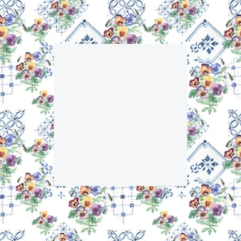 Viooltjes bloemen bloeien flora. naadloze patroon afdrukken textiel handgetekende aquarel illustratie lente zomer aard.