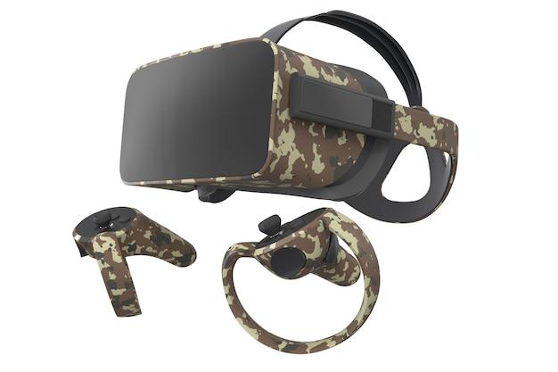Virtual reality-bril en controllers voor online gamen op wit wordt geïsoleerd