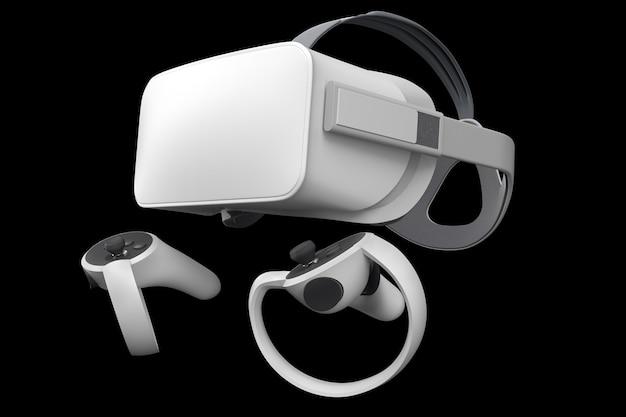 Virtual reality-bril en controllers voor online gaming geïsoleerd op zwart