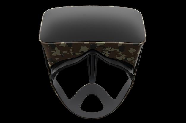 Virtual reality-bril geïsoleerd op zwart met uitknippad. 3d-weergave van een bril voor virtueel ontwerp in augmented reality of virtueel gamen