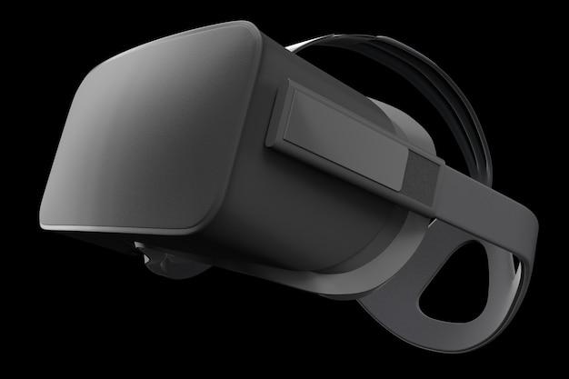 Virtual reality-bril geïsoleerd op zwart met uitknippad d rendering