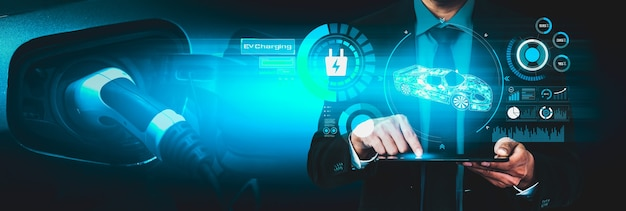 Virtual reality-concept voor elektrische auto's met ev-laadstation voor groene energie